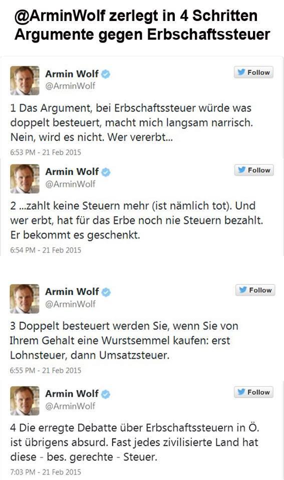 Armin Wolf twittert über die Erbschaftssteuer
