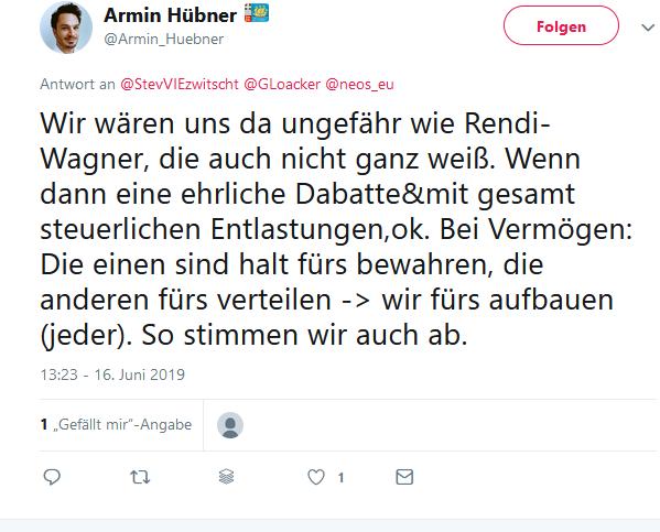 Armin Hübner Neos pro Erbschaftssteuer