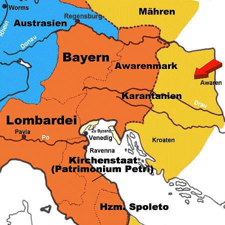 Karte der Awarenmark und Karantanien um  600 n. Chr.